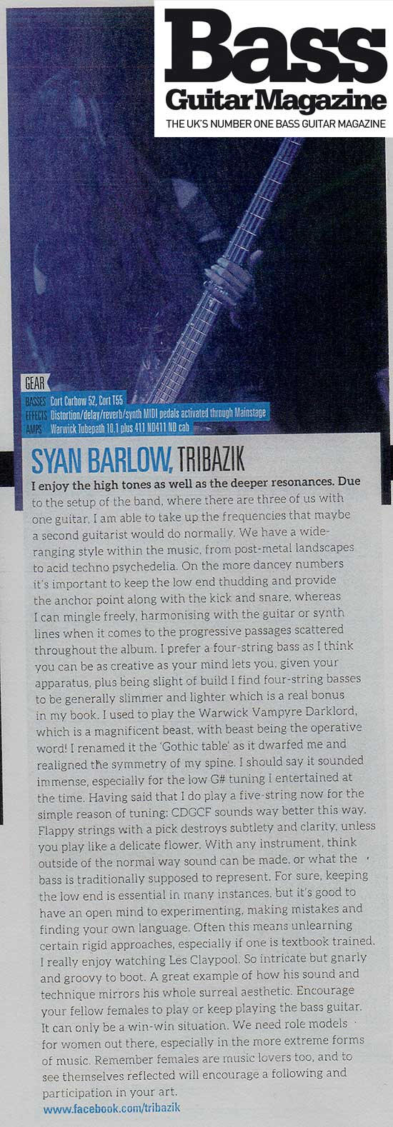 Tribazik bass guitar magazine